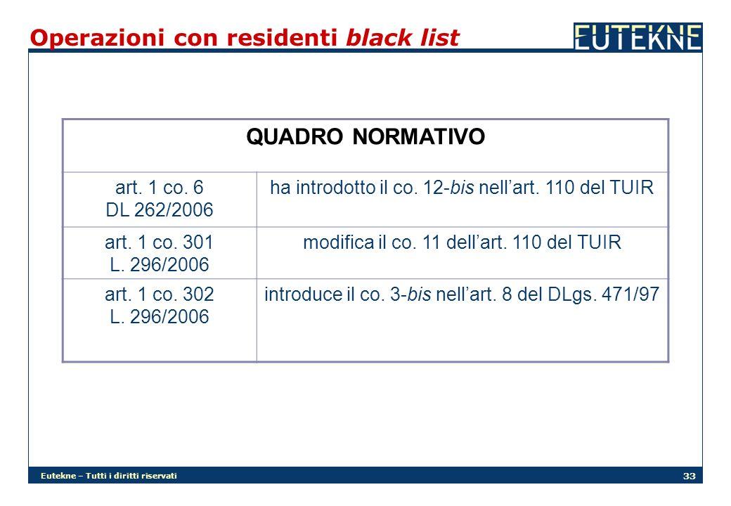 Eutekne – Tutti i diritti riservati 33 Operazioni con residenti black list QUADRO NORMATIVO art. 1 co. 6 DL 262/2006 ha introdotto il co. 12-bis nella