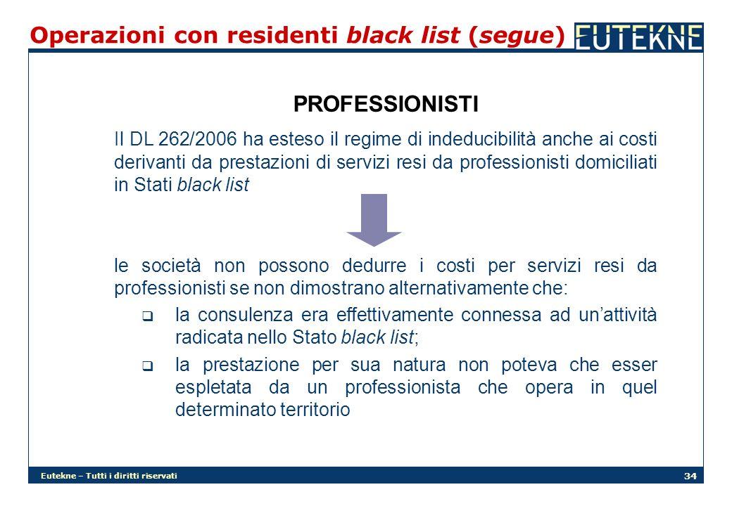 Eutekne – Tutti i diritti riservati 34 Operazioni con residenti black list (segue) PROFESSIONISTI Il DL 262/2006 ha esteso il regime di indeducibilità