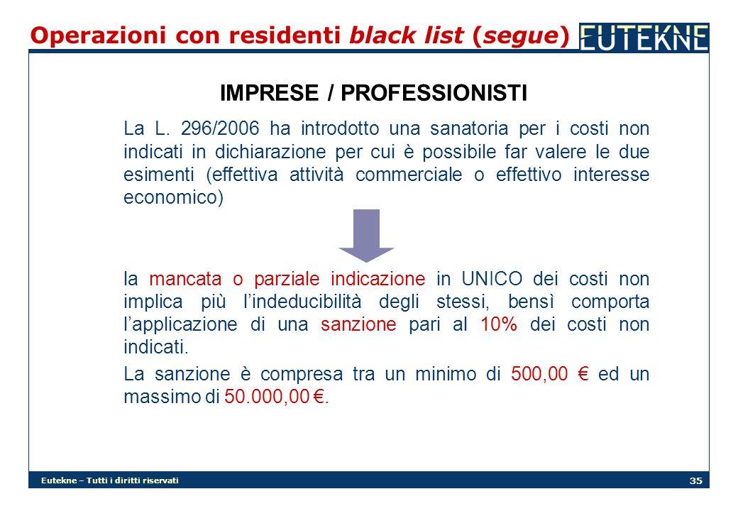 Eutekne – Tutti i diritti riservati 35 Operazioni con residenti black list (segue) IMPRESE / PROFESSIONISTI La L. 296/2006 ha introdotto una sanatoria