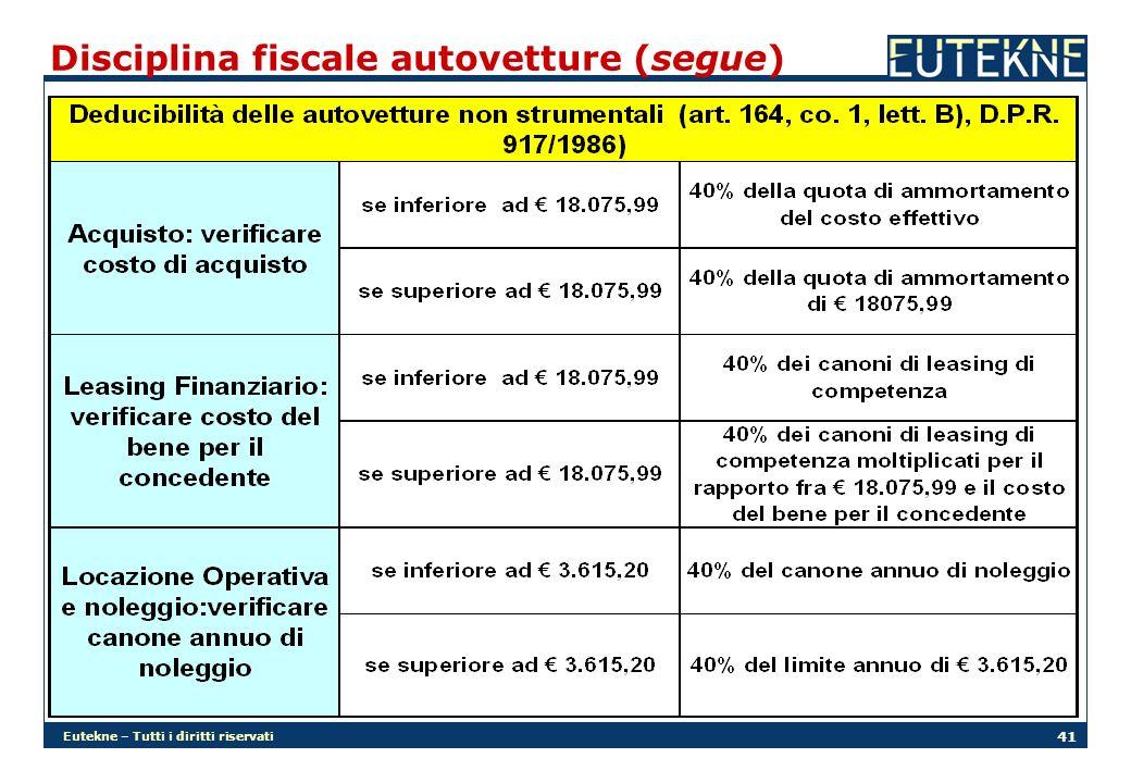 Eutekne – Tutti i diritti riservati 41 Disciplina fiscale autovetture (segue)