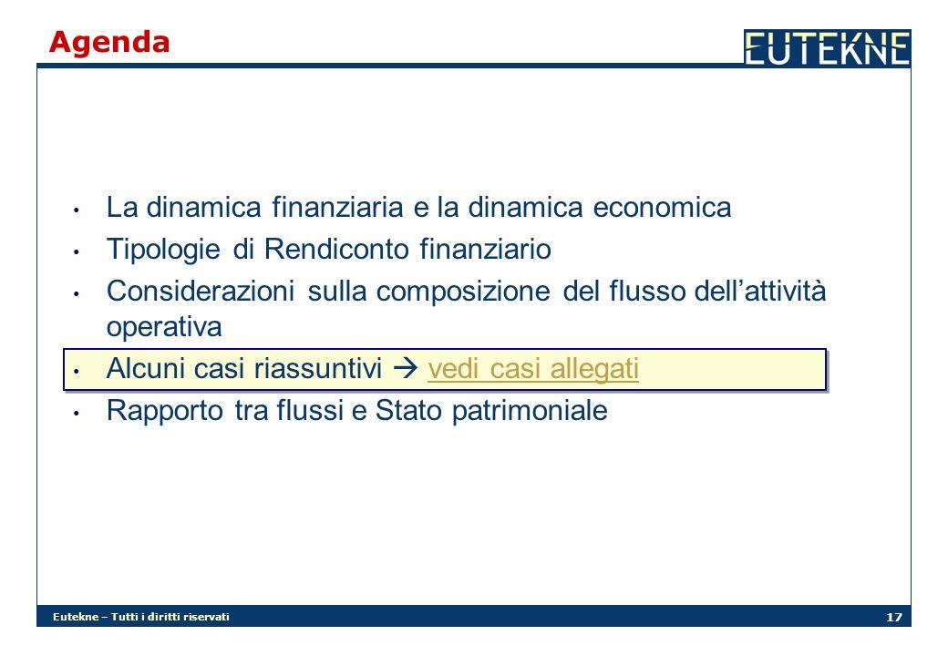 Eutekne – Tutti i diritti riservati 17 Agenda La dinamica finanziaria e la dinamica economica Tipologie di Rendiconto finanziario Considerazioni sulla