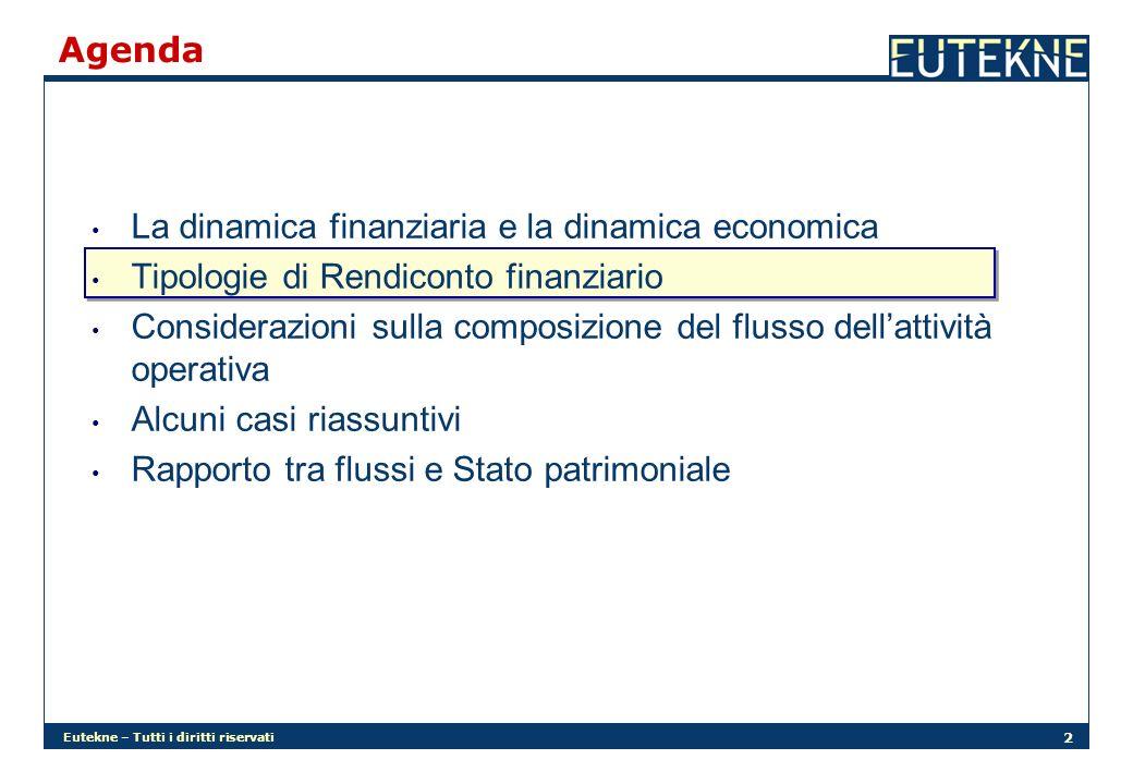 Eutekne – Tutti i diritti riservati 2 Agenda La dinamica finanziaria e la dinamica economica Tipologie di Rendiconto finanziario Considerazioni sulla