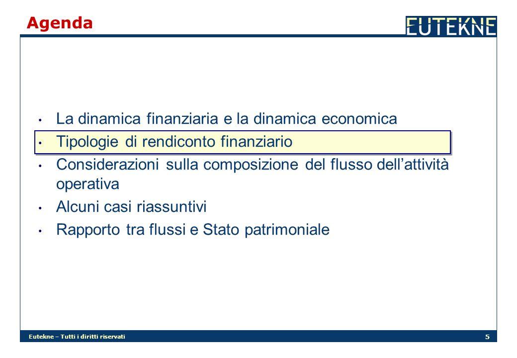 Eutekne – Tutti i diritti riservati 5 Agenda La dinamica finanziaria e la dinamica economica Tipologie di rendiconto finanziario Considerazioni sulla