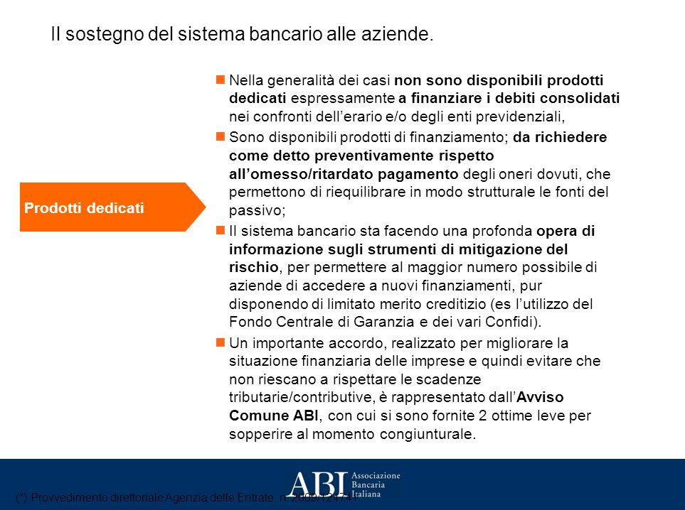 Il sostegno del sistema bancario alle aziende.