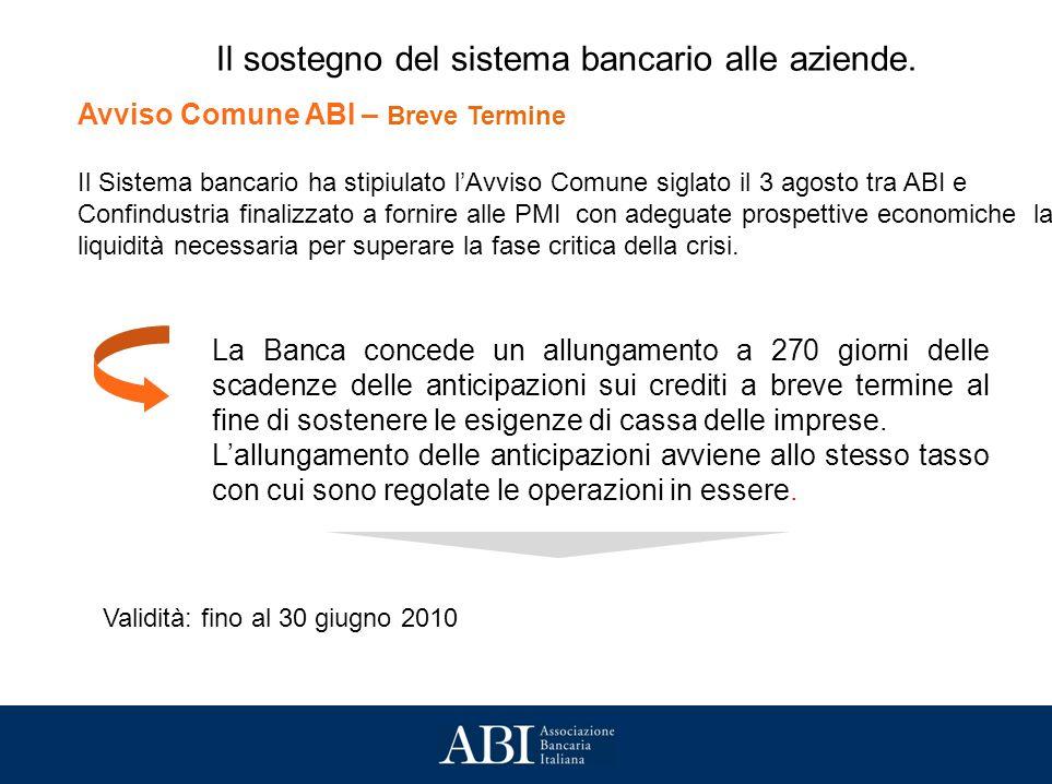 Avviso Comune ABI – Breve Termine Il Sistema bancario ha stipiulato lAvviso Comune siglato il 3 agosto tra ABI e Confindustria finalizzato a fornire alle PMI con adeguate prospettive economiche la liquidità necessaria per superare la fase critica della crisi.