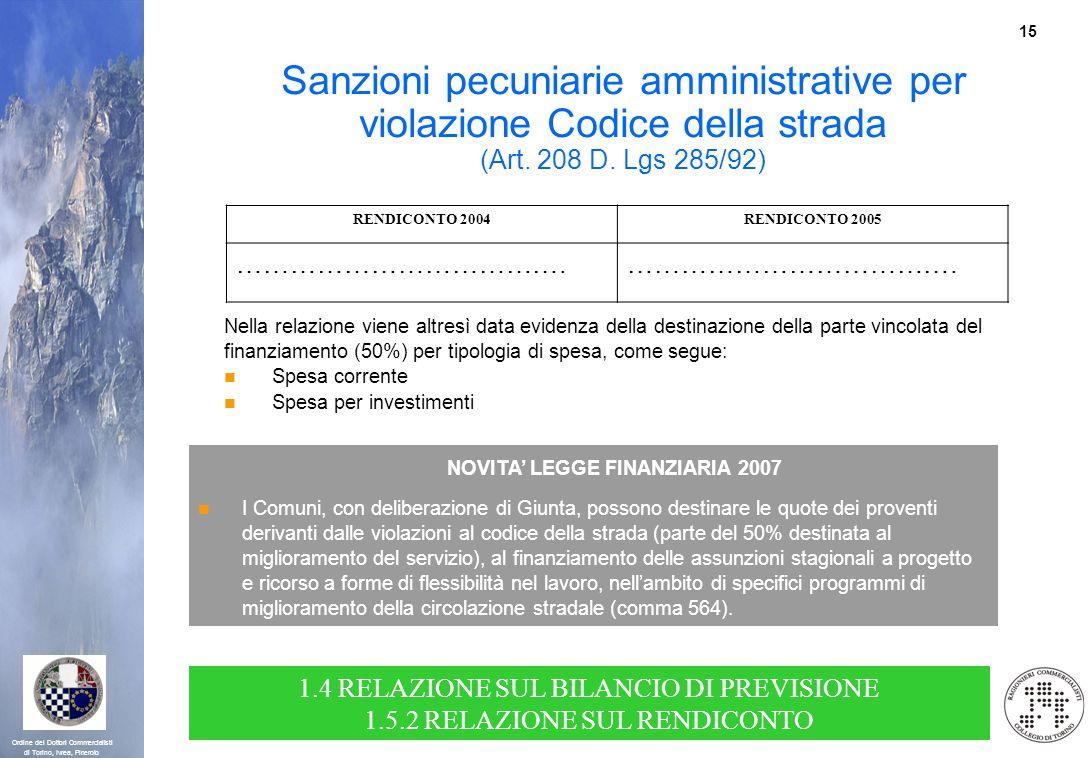 15 Ordine dei Dottori Commercialisti di Torino, Ivrea, Pinerolo RENDICONTO 2004RENDICONTO 2005 ………………………………. Nella relazione viene altresì data eviden