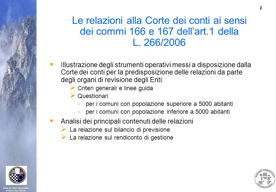2 Ordine dei Dottori Commercialisti di Torino, Ivrea, Pinerolo Le relazioni alla Corte dei conti ai sensi dei commi 166 e 167 dellart.1 della L. 266/2