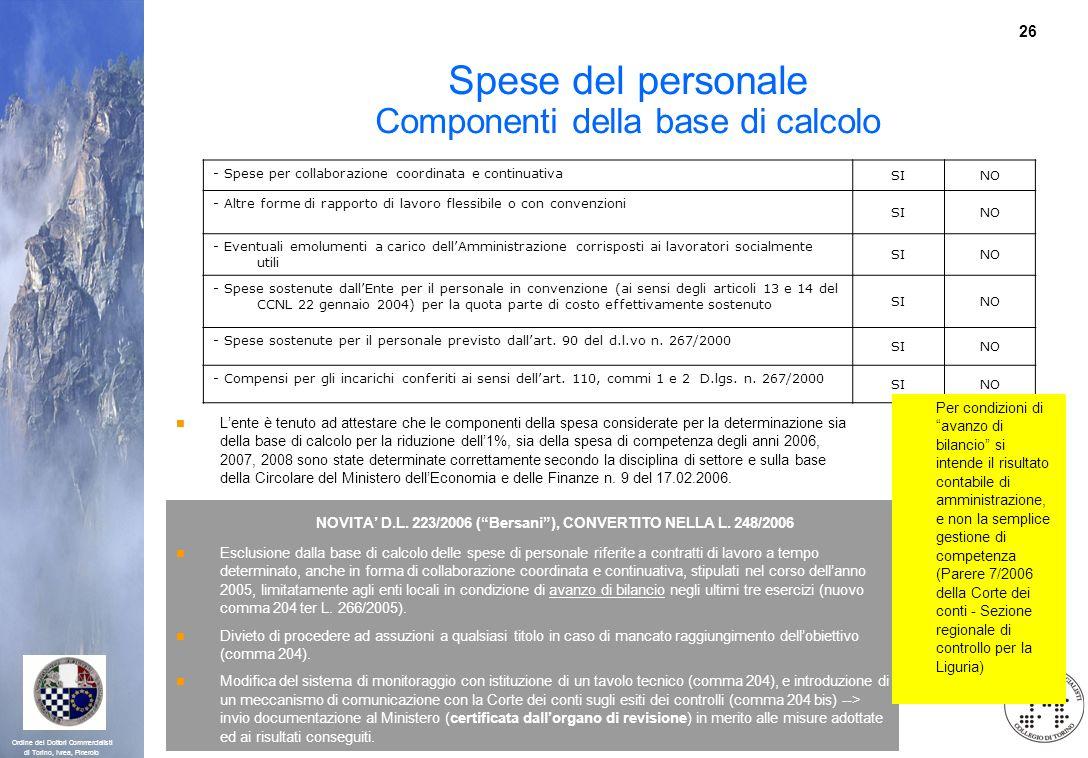 26 Ordine dei Dottori Commercialisti di Torino, Ivrea, Pinerolo Spese del personale Componenti della base di calcolo - Spese per collaborazione coordi