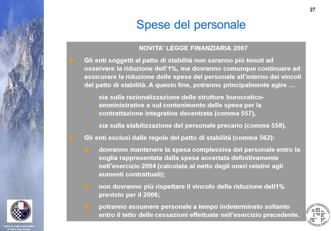 27 Ordine dei Dottori Commercialisti di Torino, Ivrea, Pinerolo Spese del personale NOVITA LEGGE FINANZIARIA 2007 Gli enti soggetti al patto di stabil