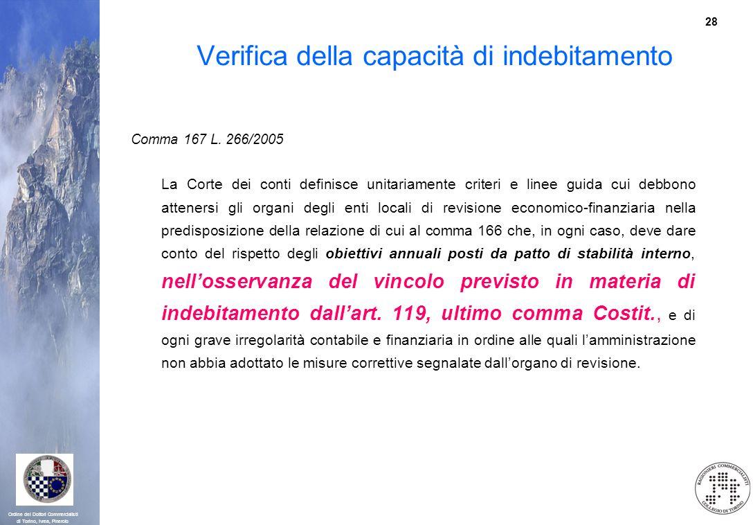 28 Ordine dei Dottori Commercialisti di Torino, Ivrea, Pinerolo Verifica della capacità di indebitamento Comma 167 L. 266/2005 La Corte dei conti defi