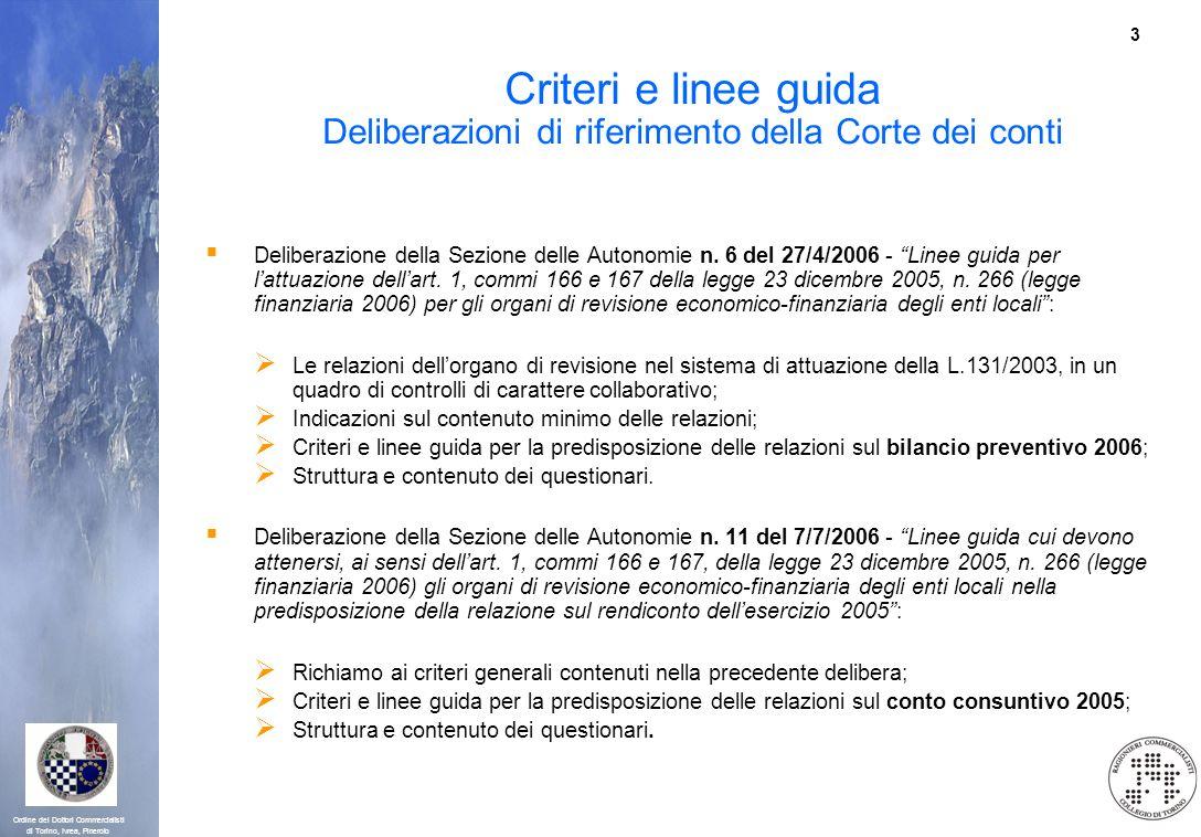 3 Ordine dei Dottori Commercialisti di Torino, Ivrea, Pinerolo Criteri e linee guida Deliberazioni di riferimento della Corte dei conti Deliberazione