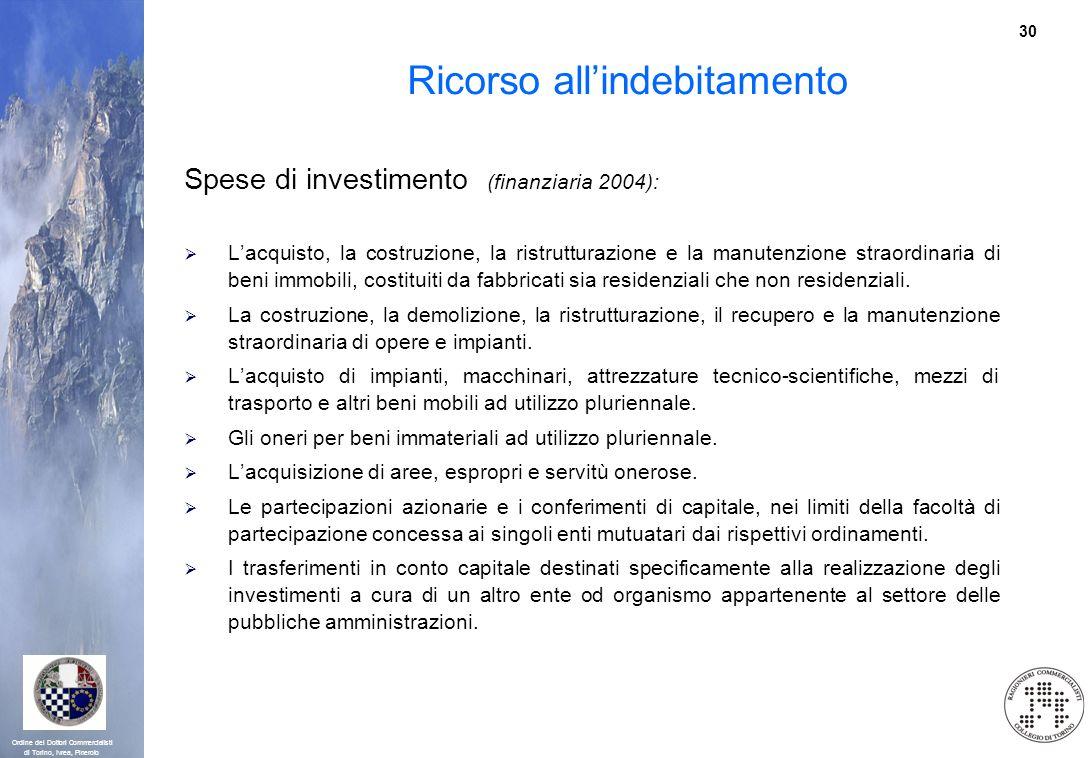 30 Ordine dei Dottori Commercialisti di Torino, Ivrea, Pinerolo Ricorso allindebitamento Spese di investimento (finanziaria 2004): Lacquisto, la costr