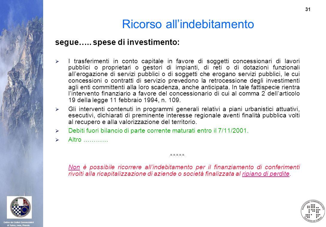 31 Ordine dei Dottori Commercialisti di Torino, Ivrea, Pinerolo Ricorso allindebitamento segue….. spese di investimento: I trasferimenti in conto capi