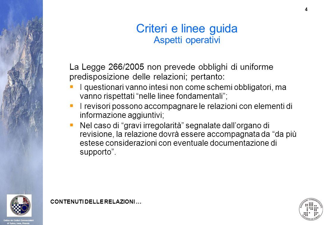 4 Ordine dei Dottori Commercialisti di Torino, Ivrea, Pinerolo Criteri e linee guida Aspetti operativi La Legge 266/2005 non prevede obblighi di unifo