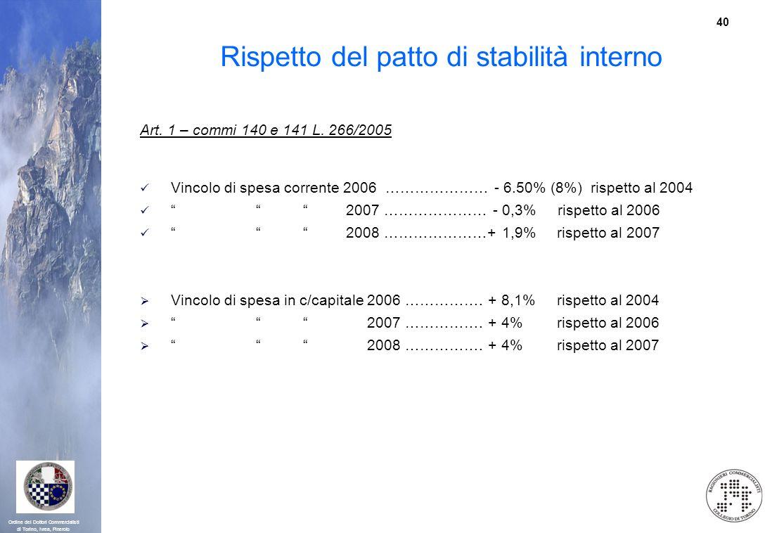 40 Ordine dei Dottori Commercialisti di Torino, Ivrea, Pinerolo Rispetto del patto di stabilità interno Art. 1 – commi 140 e 141 L. 266/2005 Vincolo d