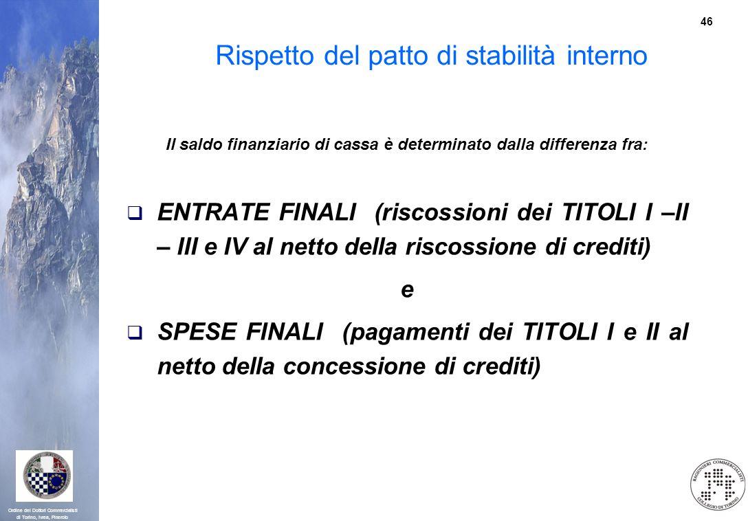 46 Ordine dei Dottori Commercialisti di Torino, Ivrea, Pinerolo Rispetto del patto di stabilità interno Il saldo finanziario di cassa è determinato da