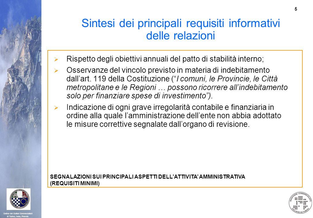 5 Ordine dei Dottori Commercialisti di Torino, Ivrea, Pinerolo Sintesi dei principali requisiti informativi delle relazioni Rispetto degli obiettivi a