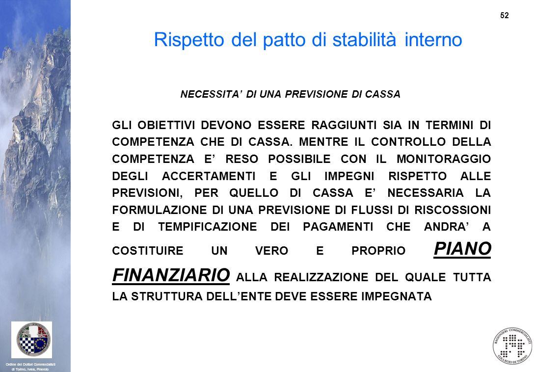 52 Ordine dei Dottori Commercialisti di Torino, Ivrea, Pinerolo Rispetto del patto di stabilità interno NECESSITA DI UNA PREVISIONE DI CASSA GLI OBIET