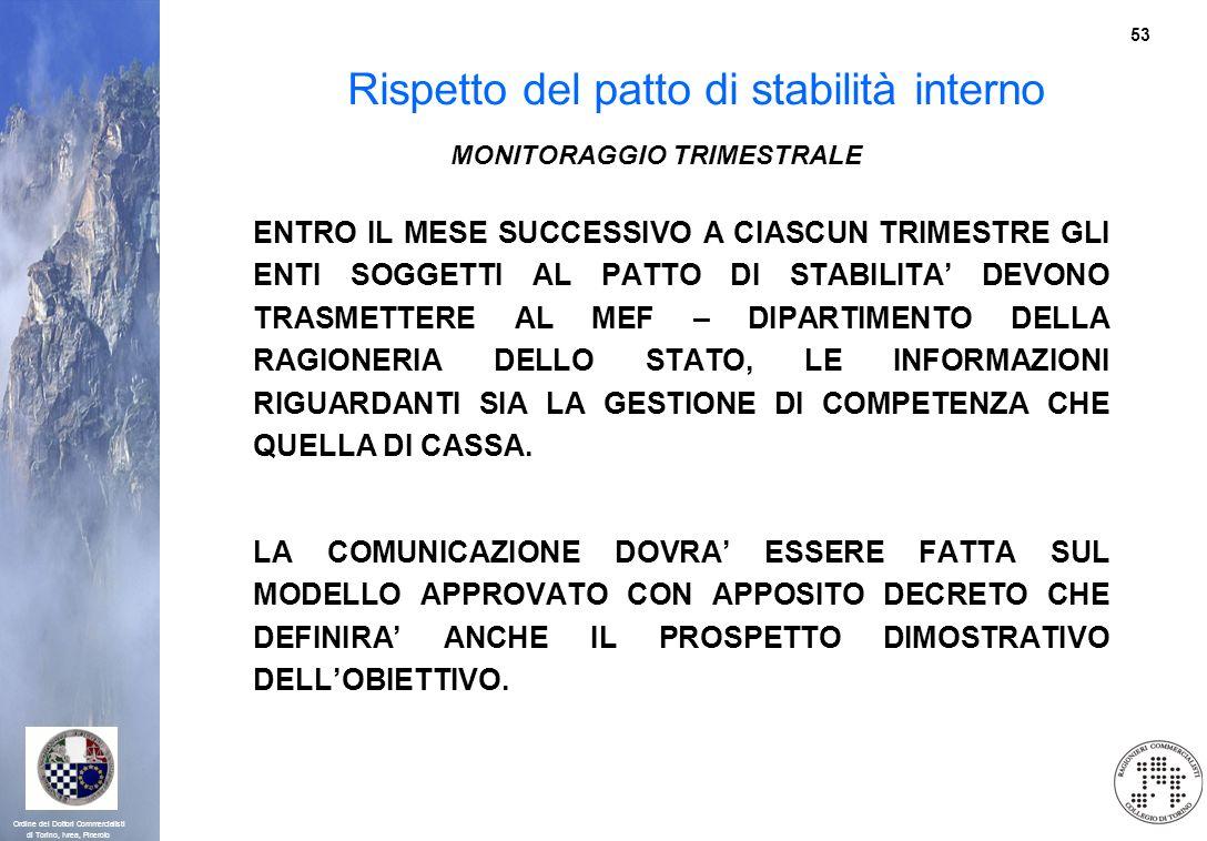 53 Ordine dei Dottori Commercialisti di Torino, Ivrea, Pinerolo Rispetto del patto di stabilità interno MONITORAGGIO TRIMESTRALE ENTRO IL MESE SUCCESS
