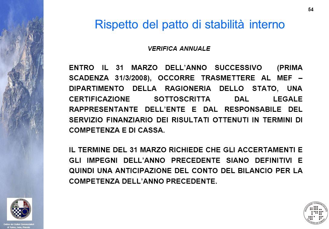 54 Ordine dei Dottori Commercialisti di Torino, Ivrea, Pinerolo Rispetto del patto di stabilità interno VERIFICA ANNUALE ENTRO IL 31 MARZO DELLANNO SU