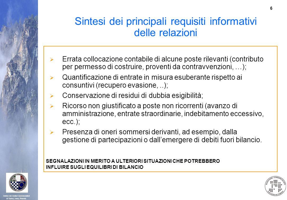 6 Ordine dei Dottori Commercialisti di Torino, Ivrea, Pinerolo Sintesi dei principali requisiti informativi delle relazioni Errata collocazione contab