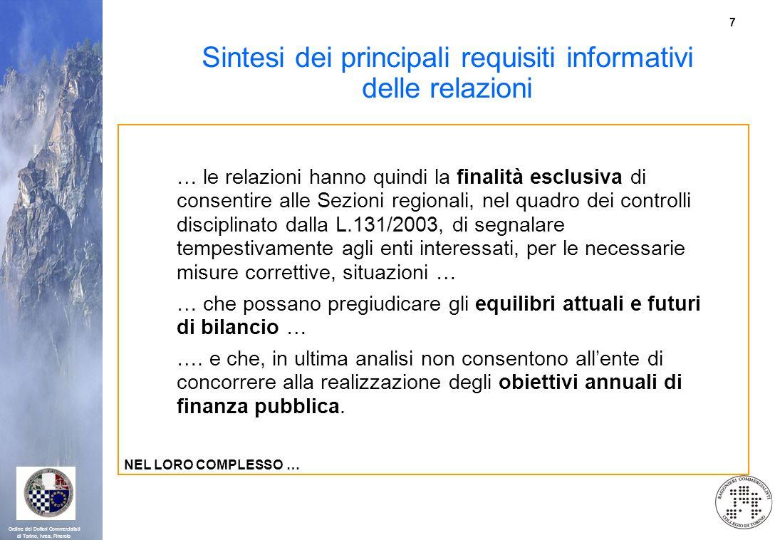 7 Ordine dei Dottori Commercialisti di Torino, Ivrea, Pinerolo Sintesi dei principali requisiti informativi delle relazioni … le relazioni hanno quind