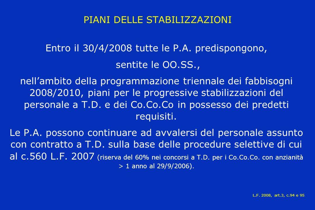 PIANI DELLE STABILIZZAZIONI Entro il 30/4/2008 tutte le P.A.