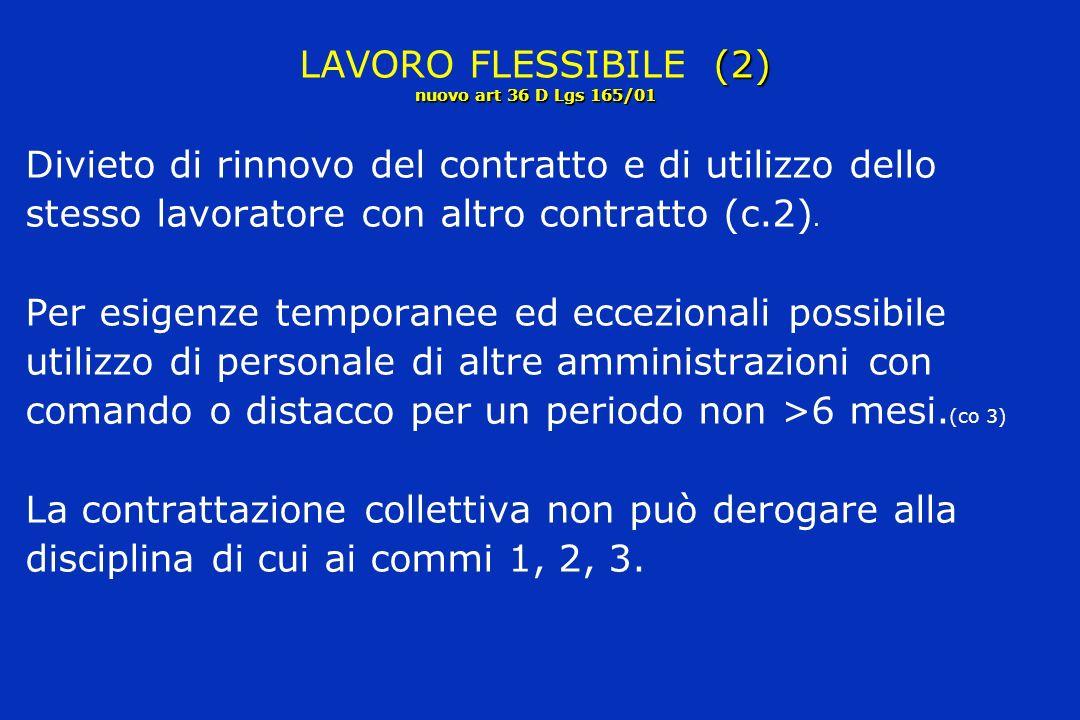 (2) nuovo art 36 D Lgs 165/01 LAVORO FLESSIBILE (2) nuovo art 36 D Lgs 165/01 Divieto di rinnovo del contratto e di utilizzo dello stesso lavoratore con altro contratto (c.2).