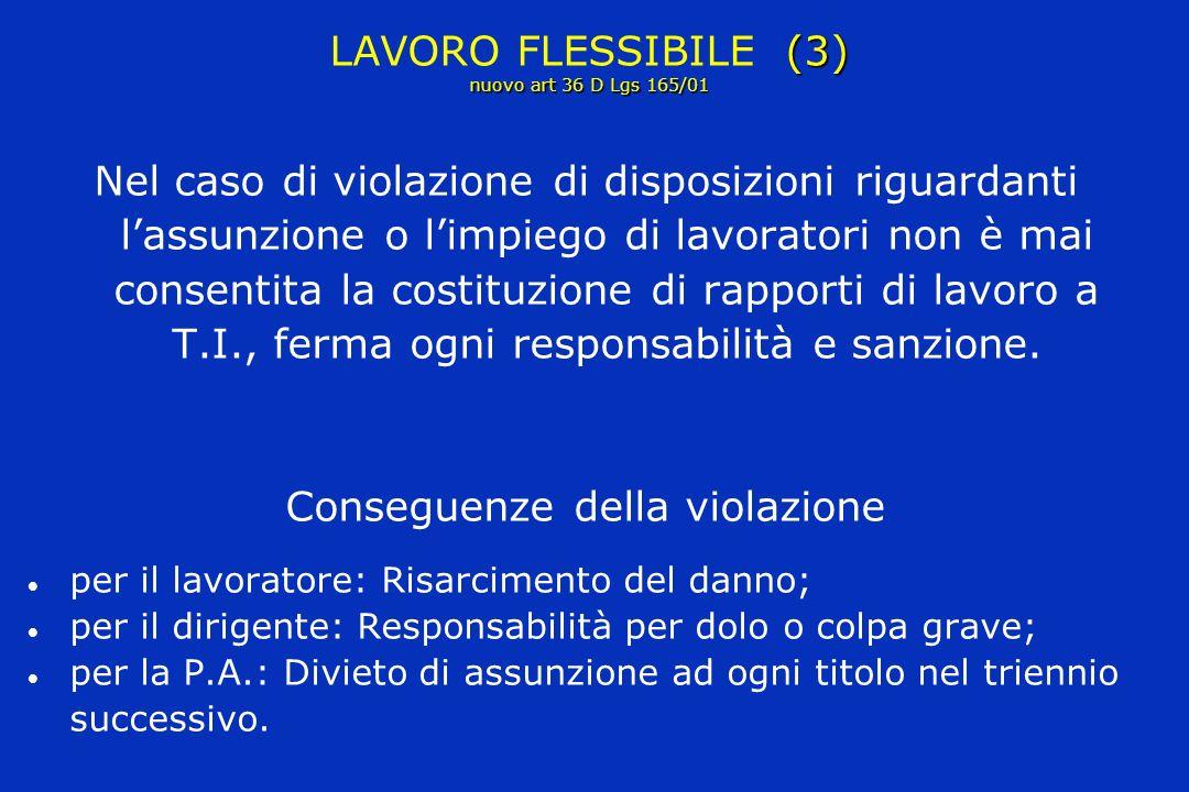 (3) nuovo art 36 D Lgs 165/01 LAVORO FLESSIBILE (3) nuovo art 36 D Lgs 165/01 Nel caso di violazione di disposizioni riguardanti lassunzione o limpiego di lavoratori non è mai consentita la costituzione di rapporti di lavoro a T.I., ferma ogni responsabilità e sanzione.