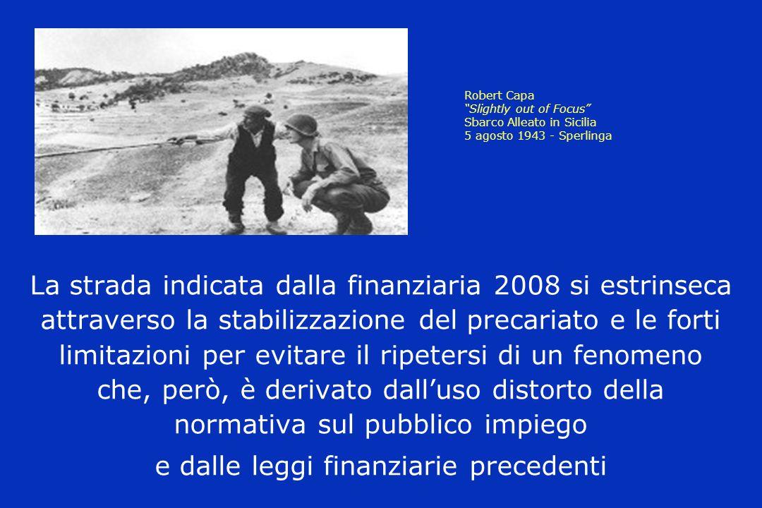 Robert Capa Slightly out of Focus Sbarco Alleato in Sicilia 5 agosto 1943 - Sperlinga La strada indicata dalla finanziaria 2008 si estrinseca attraverso la stabilizzazione del precariato e le forti limitazioni per evitare il ripetersi di un fenomeno che, però, è derivato dalluso distorto della normativa sul pubblico impiego e dalle leggi finanziarie precedenti