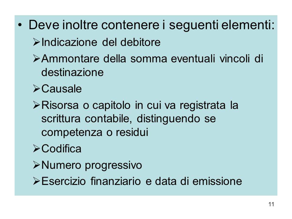 11 Deve inoltre contenere i seguenti elementi: Indicazione del debitore Ammontare della somma eventuali vincoli di destinazione Causale Risorsa o capi