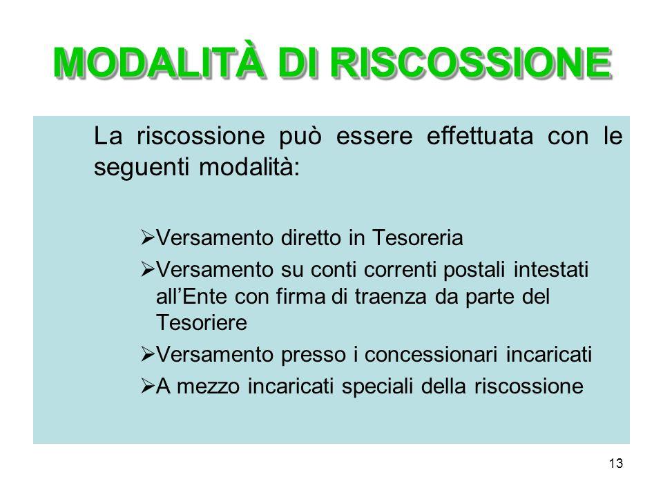 13 MODALITÀ DI RISCOSSIONE La riscossione può essere effettuata con le seguenti modalità: Versamento diretto in Tesoreria Versamento su conti correnti