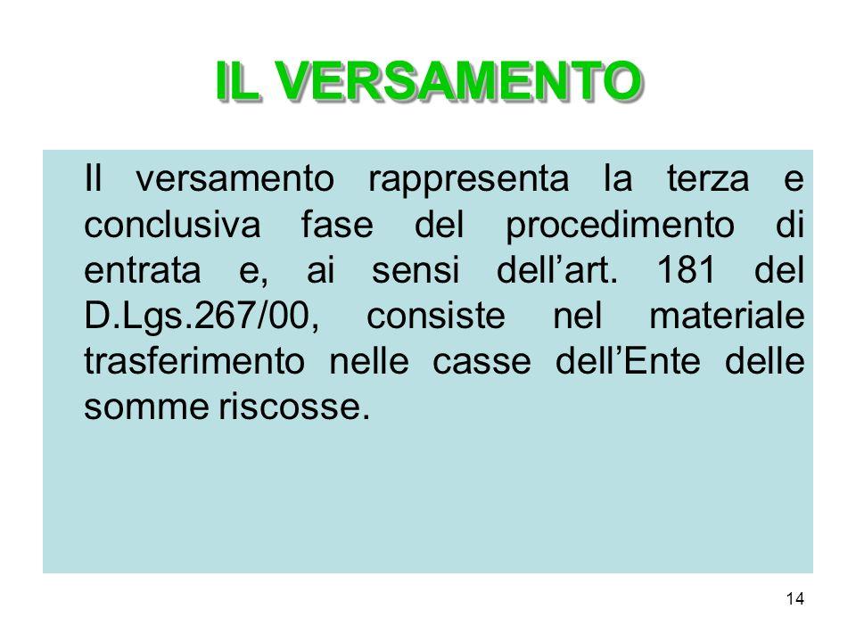 14 IL VERSAMENTO Il versamento rappresenta la terza e conclusiva fase del procedimento di entrata e, ai sensi dellart. 181 del D.Lgs.267/00, consiste