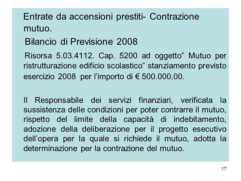 17 Entrate da accensioni prestiti- Contrazione mutuo. Bilancio di Previsione 2008 Risorsa 5.03.4112. Cap. 5200 ad oggetto Mutuo per ristrutturazione e