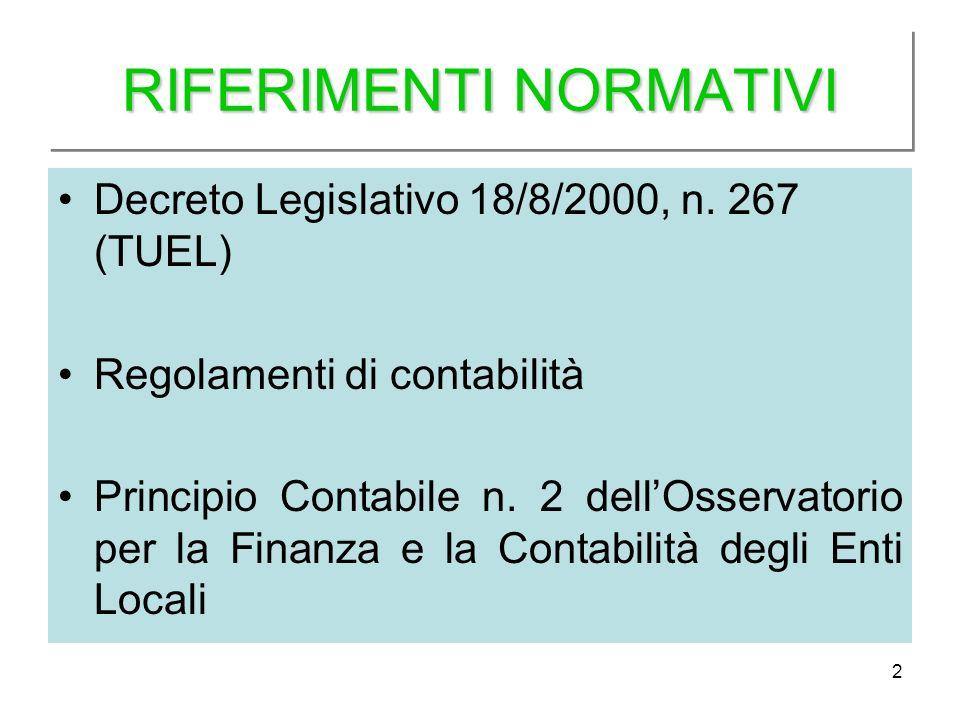 2 RIFERIMENTI NORMATIVI Decreto Legislativo 18/8/2000, n. 267 (TUEL) Regolamenti di contabilità Principio Contabile n. 2 dellOsservatorio per la Finan