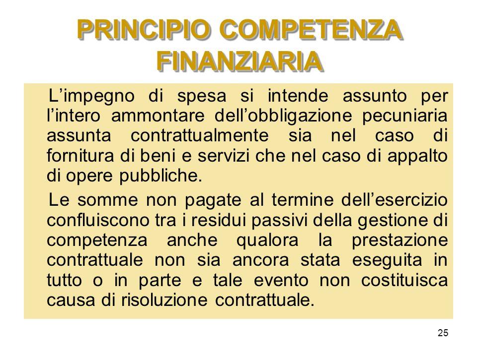 25 PRINCIPIO COMPETENZA FINANZIARIA Limpegno di spesa si intende assunto per lintero ammontare dellobbligazione pecuniaria assunta contrattualmente si