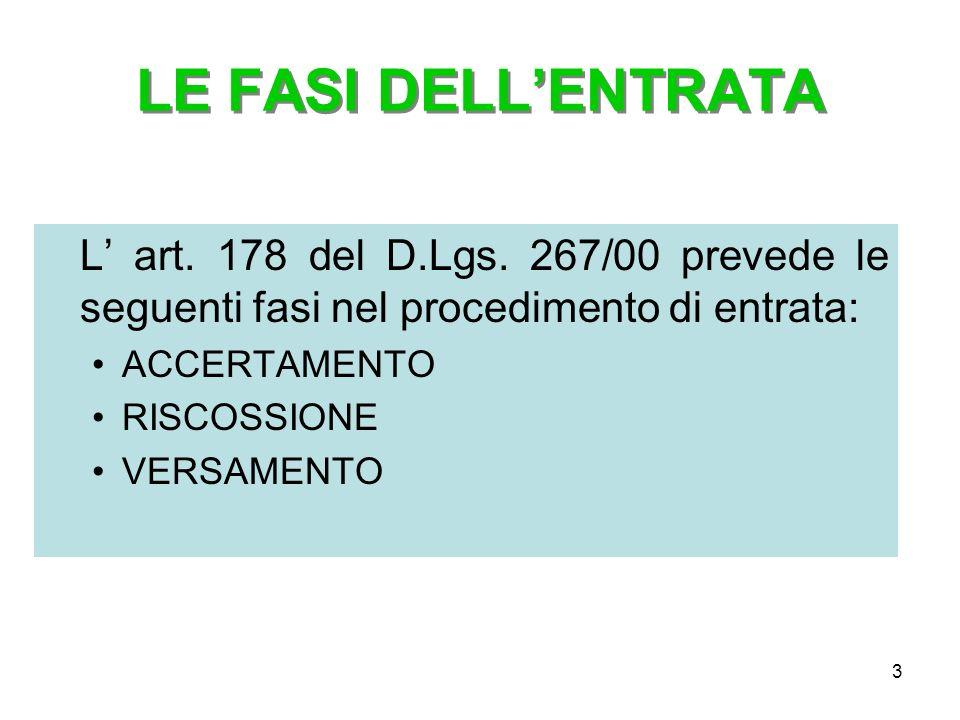 3 LE FASI DELLENTRATA L art. 178 del D.Lgs. 267/00 prevede le seguenti fasi nel procedimento di entrata: ACCERTAMENTO RISCOSSIONE VERSAMENTO