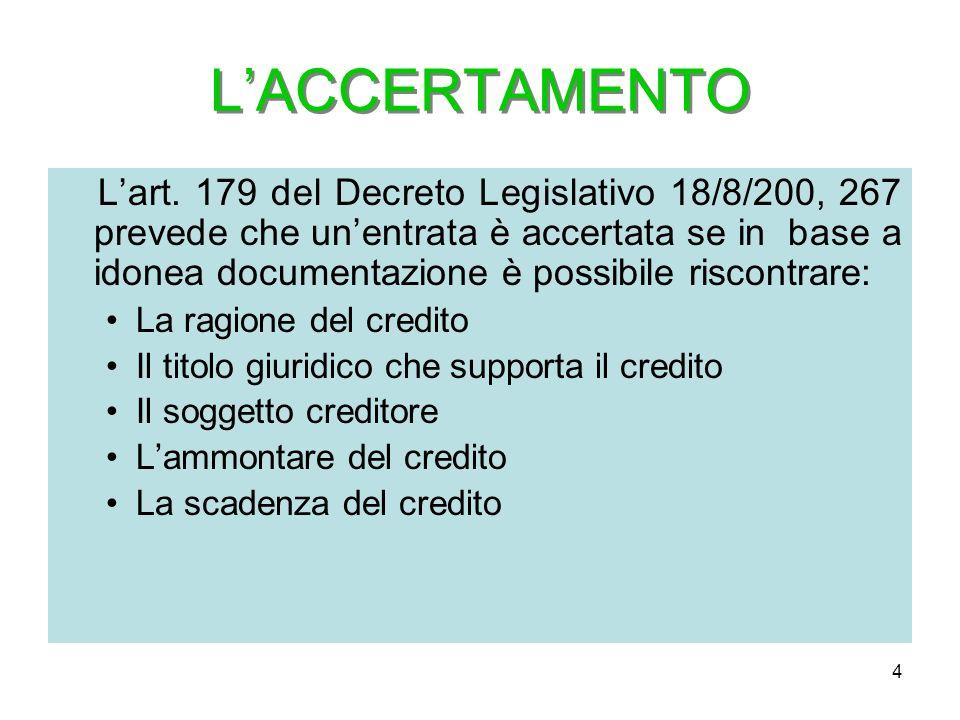 4 LACCERTAMENTO Lart. 179 del Decreto Legislativo 18/8/200, 267 prevede che unentrata è accertata se in base a idonea documentazione è possibile risco