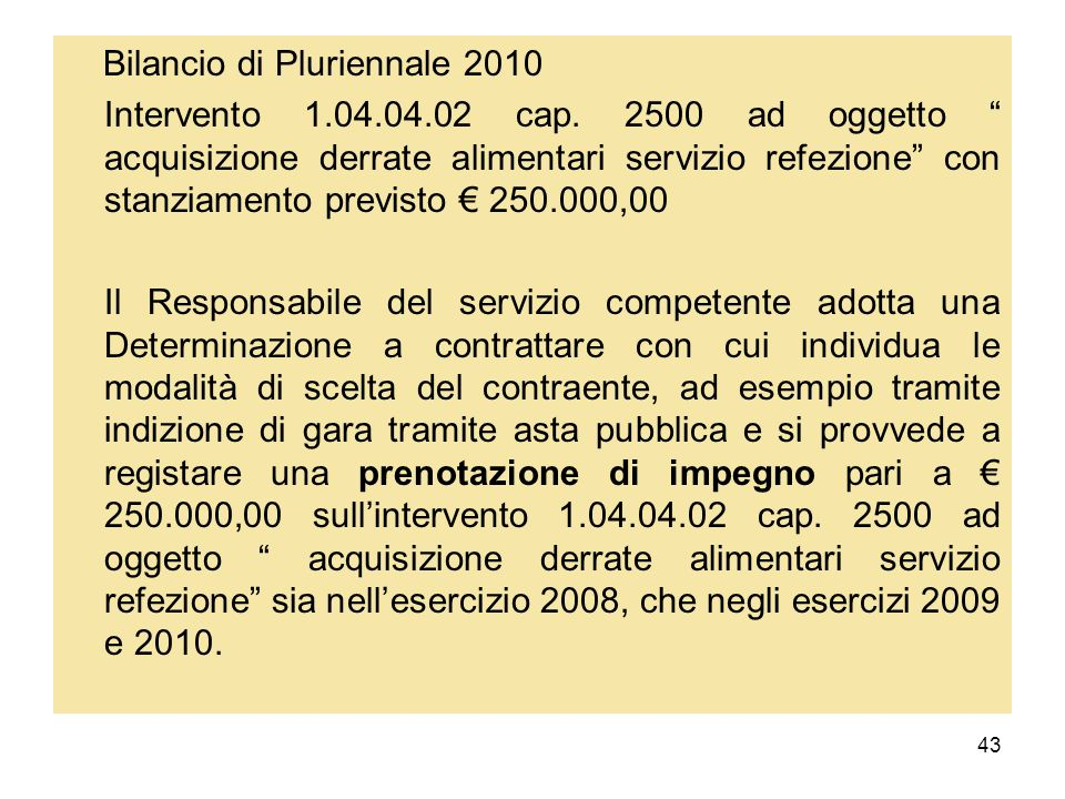 43 Bilancio di Pluriennale 2010 Intervento 1.04.04.02 cap. 2500 ad oggetto acquisizione derrate alimentari servizio refezione con stanziamento previst