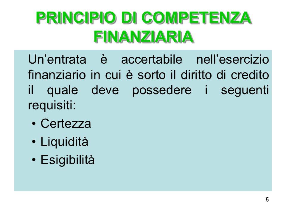 5 PRINCIPIO DI COMPETENZA FINANZIARIA Unentrata è accertabile nellesercizio finanziario in cui è sorto il diritto di credito il quale deve possedere i