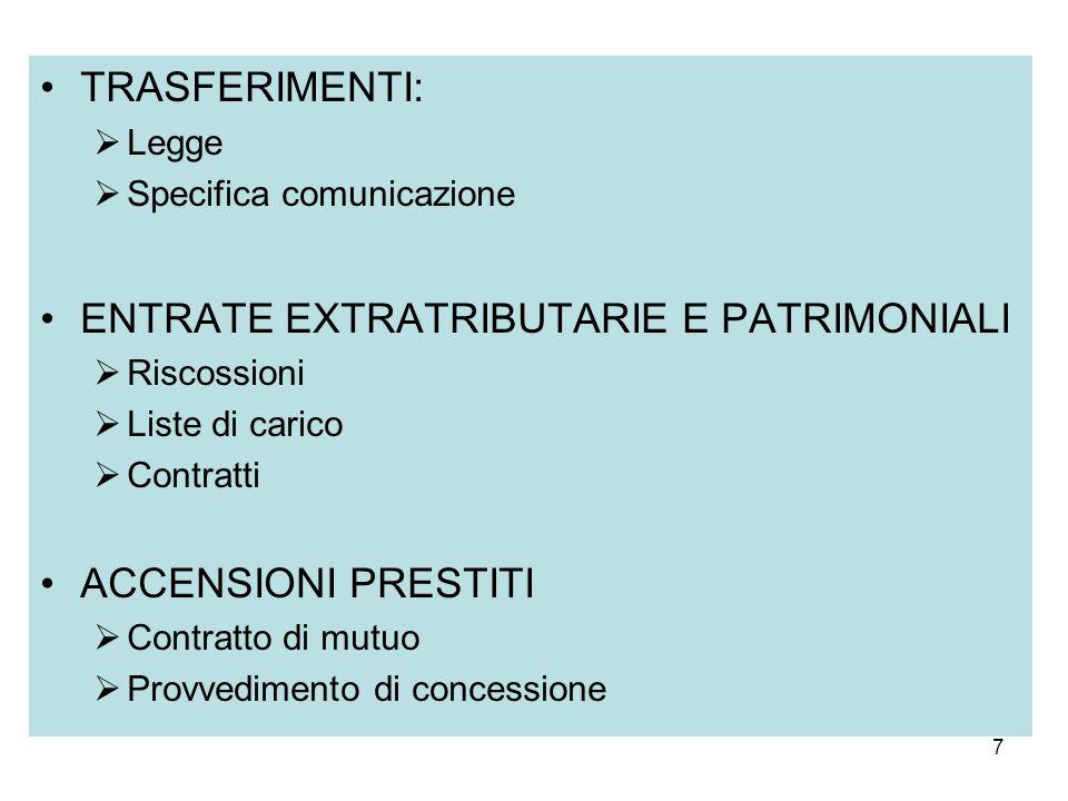7 TRASFERIMENTI: Legge Specifica comunicazione ENTRATE EXTRATRIBUTARIE E PATRIMONIALI Riscossioni Liste di carico Contratti ACCENSIONI PRESTITI Contra