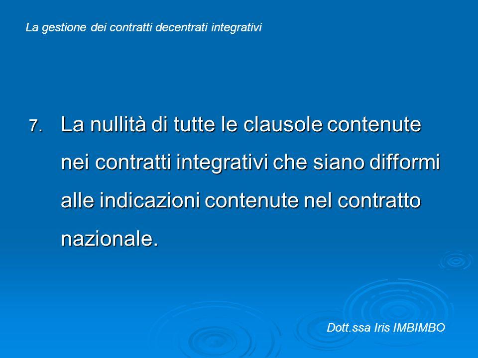 7. La nullità di tutte le clausole contenute nei contratti integrativi che siano difformi alle indicazioni contenute nel contratto nazionale. La gesti