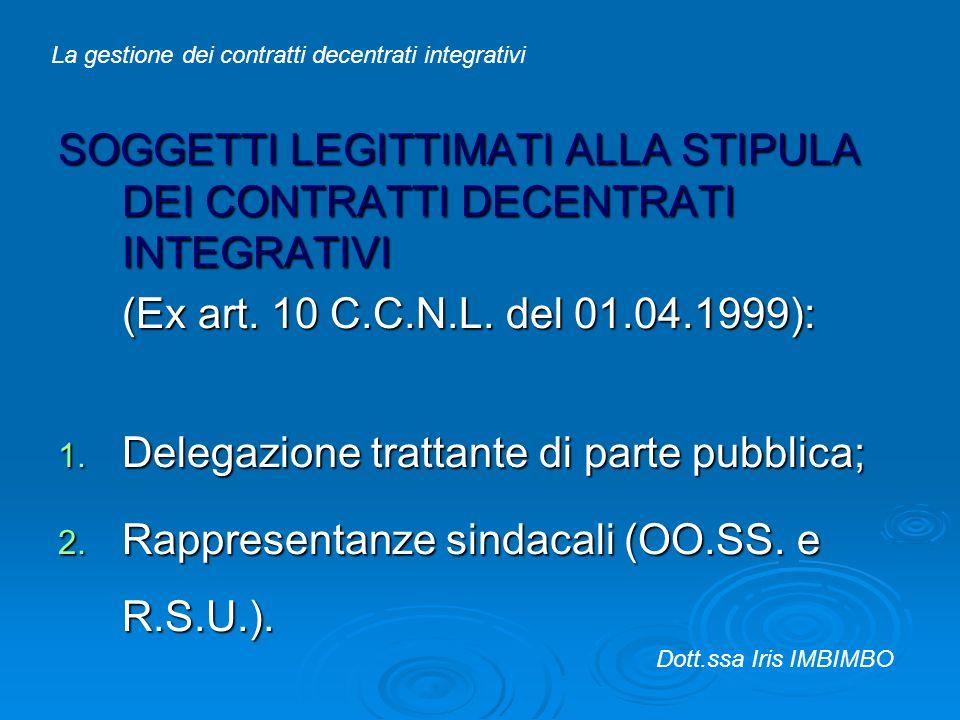 SOGGETTI LEGITTIMATI ALLA STIPULA DEI CONTRATTI DECENTRATI INTEGRATIVI (Ex art. 10 C.C.N.L. del 01.04.1999): 1. Delegazione trattante di parte pubblic