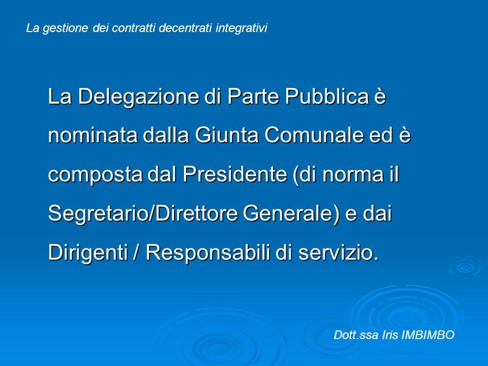 La Delegazione di Parte Pubblica è nominata dalla Giunta Comunale ed è composta dal Presidente (di norma il Segretario/Direttore Generale) e dai Dirig