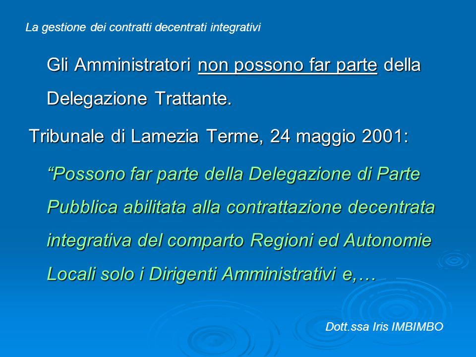Gli Amministratori non possono far parte della Delegazione Trattante. Tribunale di Lamezia Terme, 24 maggio 2001: Possono far parte della Delegazione