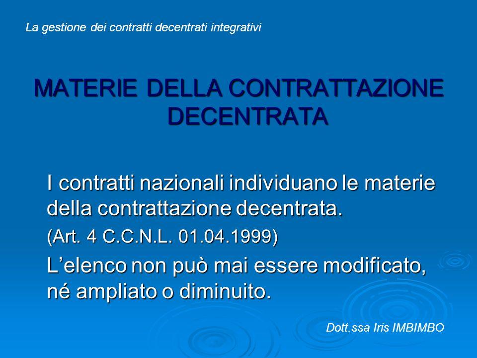 MATERIE DELLA CONTRATTAZIONE DECENTRATA I contratti nazionali individuano le materie della contrattazione decentrata. (Art. 4 C.C.N.L. 01.04.1999) Lel