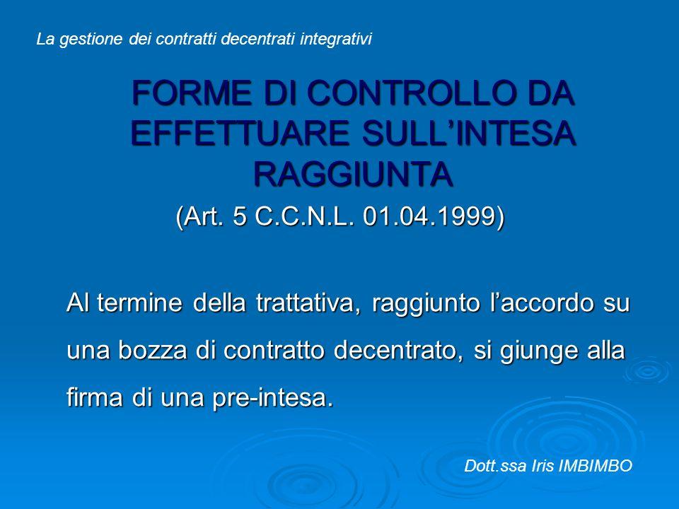 FORME DI CONTROLLO DA EFFETTUARE SULLINTESA RAGGIUNTA (Art. 5 C.C.N.L. 01.04.1999) Al termine della trattativa, raggiunto laccordo su una bozza di con