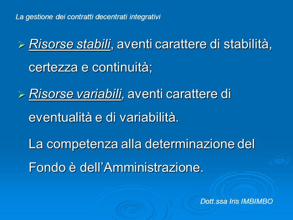 Risorse stabili, aventi carattere di stabilità, certezza e continuità; Risorse stabili, aventi carattere di stabilità, certezza e continuità; Risorse