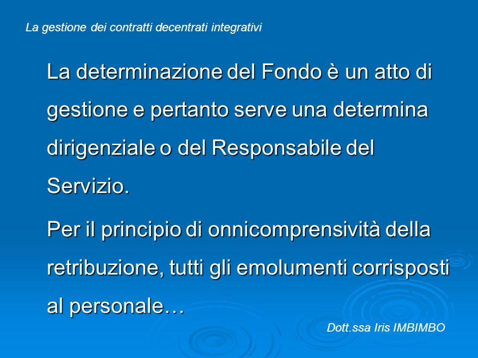 La determinazione del Fondo è un atto di gestione e pertanto serve una determina dirigenziale o del Responsabile del Servizio. Per il principio di onn