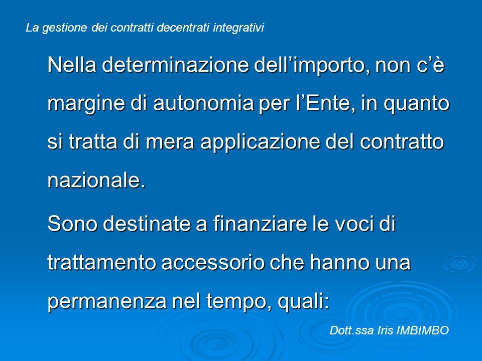 Nella determinazione dellimporto, non cè margine di autonomia per lEnte, in quanto si tratta di mera applicazione del contratto nazionale. Sono destin